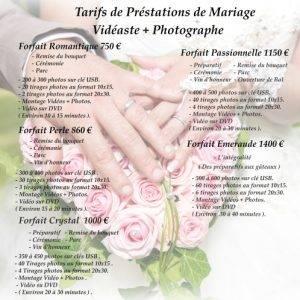 Tarifs vidéaste mariage