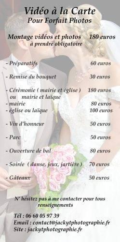 Tarifs photographe mariage